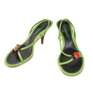 "CHANEL: Green, Leather & ""CC"" Logo Ladybug Sandals"